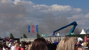 Smoke at Olympic Park from Leytonstone fire