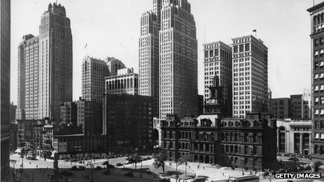 A view of Detroit with the City Hall in the foreground. Taken circa 1935