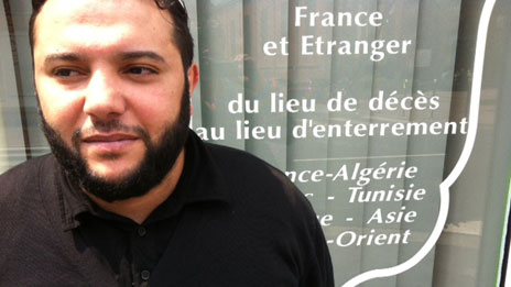 Abdallah Hadid in front of his funeral parlour in Lille
