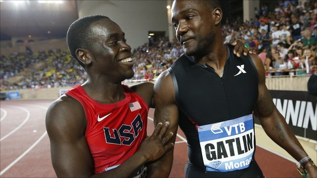 Dentarius Locke congratulates Justin Gatlin