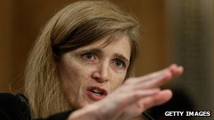 Samantha Power, the nominee to be the US representative to the United Nations, testifies before the Senate Foreign Relations Committee in Washington DC on 17 July 2013