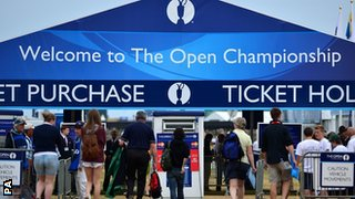 Fans arrive at the Open