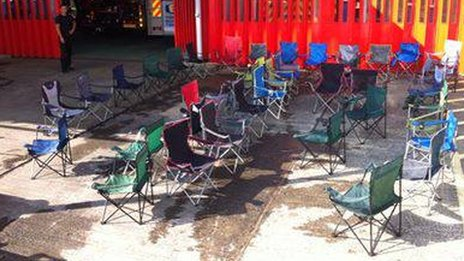 Chairs collected from Glastonbury