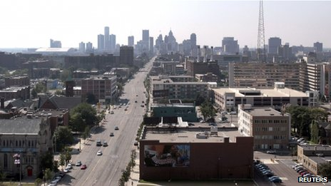 A view of the Detroit skyline is seen looking south up Woodward Avenue in Detroit.