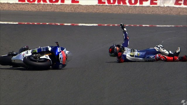 Jorge Lorenzo crashes at the Sachsenring