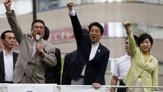 Japan's Prime Minister Shinzo Abe (C), who is also leader of the ruling Liberal Democratic Party (LDP), raises his fist with his party members at the start day of campaigning for the 21 July upper house election in Tokyo, 4 July 2013