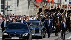 King Philippe and Queen Mathilde are driven to the Royal Palace in Brussels, 21 July 2013