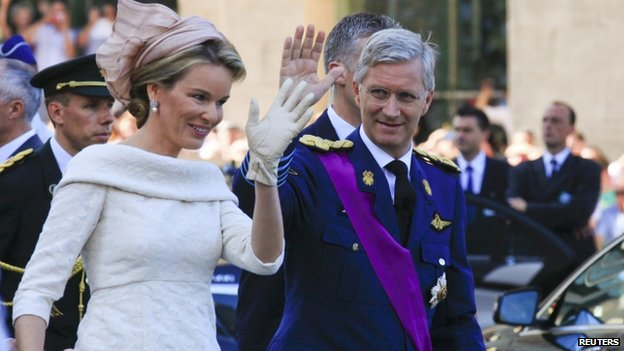 Philippe and Mathilde leave a Te Deum Mass celebrating the 20th anniversary of Albert II, shortly before the king's abdication