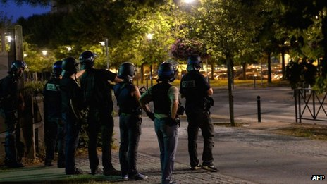 Police patrol streets of Trappes, France (21 July 2013)
