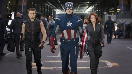 Hawkeye (Jeremy Renner), Captain America (Chris Evans) and Black Widow (Scarlett Johansson) in The Avengers