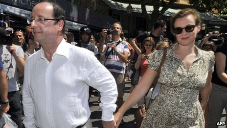 French President Francois Hollande with partner Valerie Trierweiler in Fort Bregancon (3 August 2012)