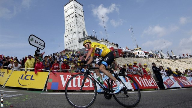 Chris Froome winning the race up Mont Ventoux