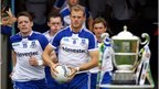Monaghan make their way onto the pitch before the Ulster SFC final against Donegal