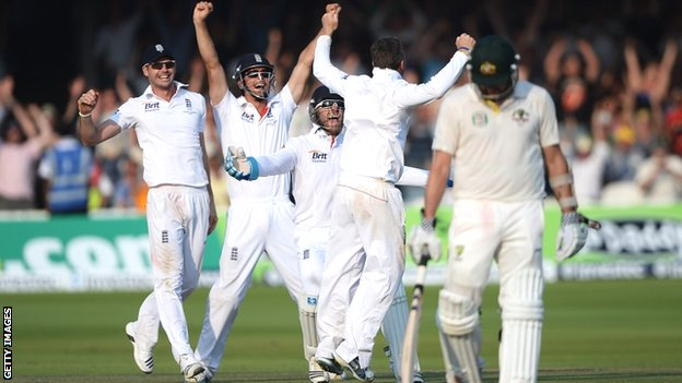 England celebrate victory at Lord's