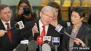 Australian PM Kevin Rudd, speaking in Canberra on 22 July