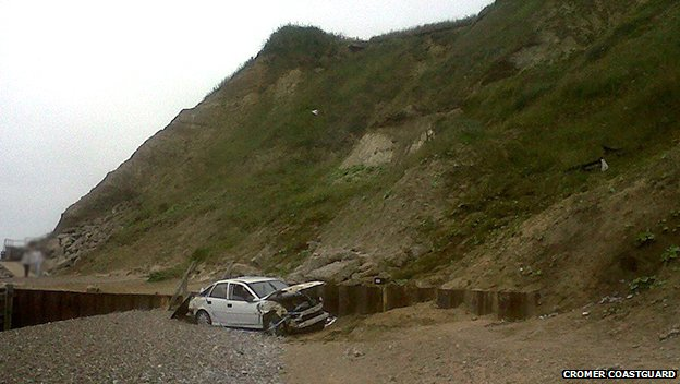 A Vauxhall Vectra at the bottom of a cliff in Overstrand