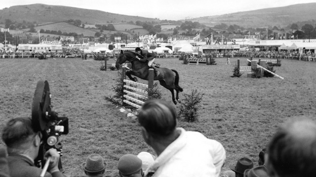 Filming show jumping at Royal Welsh Show - the first at Llanelwedd in 1963