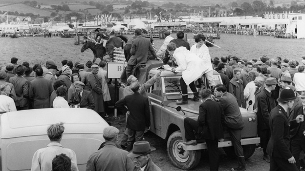 The BBC crew get a vantage point to film the show jumping 50 years ago
