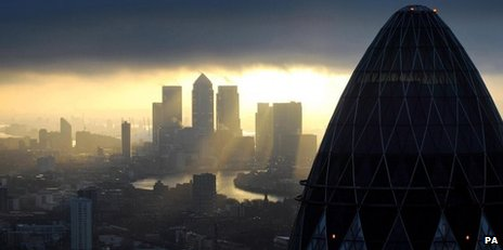 View from the City to Canary Wharf