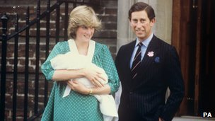 Charles and Diana with newborn Prince William
