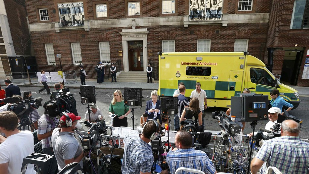 The media gathered in front of the Lindo Wing of St Mary's Hospital, where the Duchess of Cambridge has arrived to give birth. Photo by Reuters