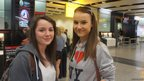 Holly and Lauren at Heathrow Airport