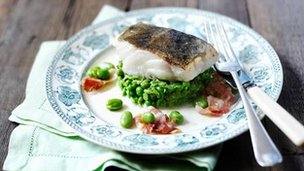 Pan-fried cod with minted peas
