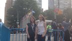 Holly and Lauren outside the UN