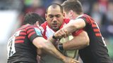 Saracens pair Brad Barritt and Owen Farrell tackle Ulster prop John Afoa