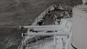Ice on guns, HMS Kenya, Korean War