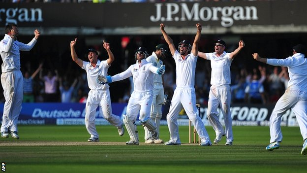 England celebrate their 347-run victory at Lord's