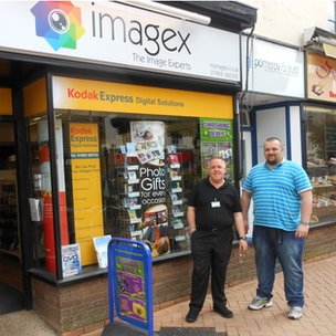 Paul Crockett  and Robert Peckham outside the store they reopened as a photography business in Bicester