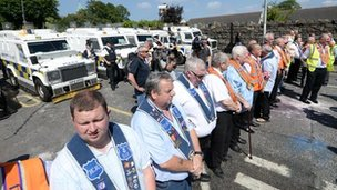 The Orange Order has staged a protest on the Woodvale Road last Saturday after the latest parade was stopped