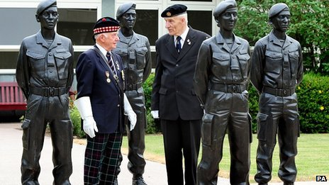 Veterans of the Korean war, Jim Bridges, 83 (left) and Bob Hendry 80 next to County Hall's Armed Forces Memorial