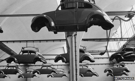 Beetle shells at a VW plant in Germany 1960