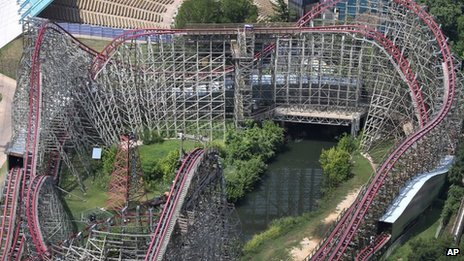 This aerial photo shows the Texas Giant roller coaster at Six Flags Over Texas where a woman fell to her death, in Arlington, Texas