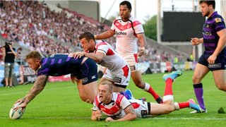 Josh Charnley's first try at Langtree Park