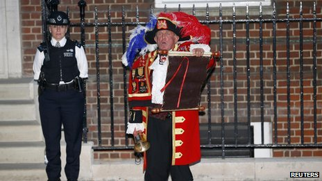 A town crier confirms the birth