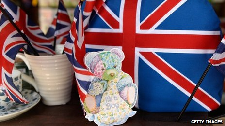British and baby decorations at a shop in California