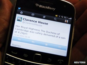 Picture of the birth tweet from Clarence House