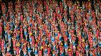 North Korean children perform during the Arirang mass games on 22 July 2013 in Pyongyang, North Korea