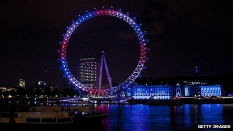 The London Eye was illuminated in the colours of the union jack