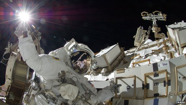 Astronaut Suni Williams on a space walk during Mission 32