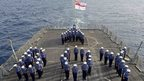 HMS Lancaster company spell out 'boy' on deck