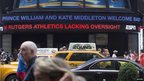 Ticker with the news in New York's Times square