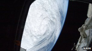 Image of Storm Sandy from the ISS