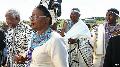 Nelson Mandela and his family in Mvezo in 2007 for the inauguration of Mandla Mandela as chief
