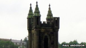 St Andrews Church in Ramsbottom after it was struck by lightning