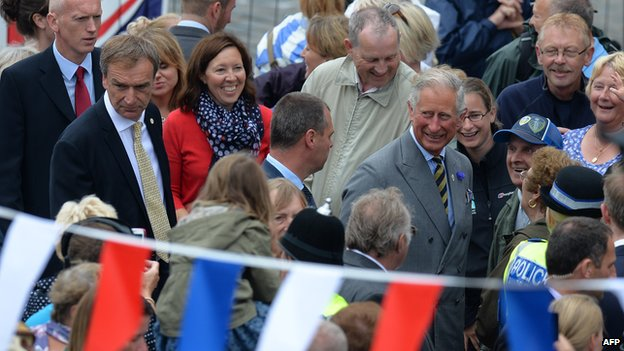 Prince Charles surrounded by crowds in Bridlington