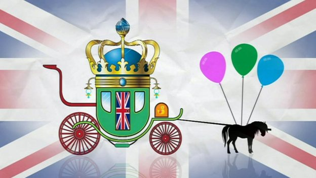 Royal baby buggy design on Union Jack background